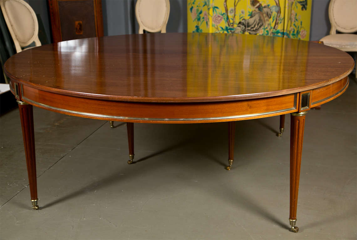 Directoire Style Dining Table, Mahogany and Brass Inlay 2