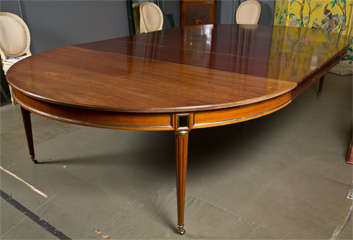 Directoire Style Dining Table, Mahogany and Brass Inlay image 3