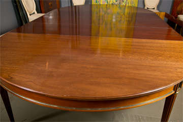 Directoire Style Dining Table, Mahogany and Brass Inlay image 5
