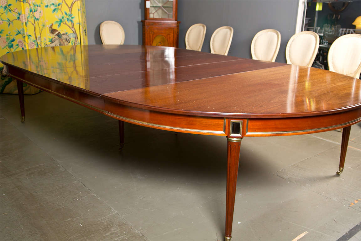 Directoire Style Dining Table, Mahogany and Brass Inlay 6