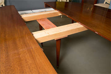 Directoire Style Dining Table, Mahogany and Brass Inlay image 7