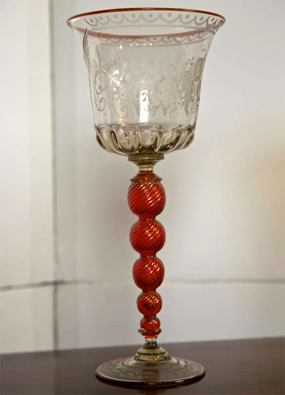 Etched Venetian Glass Goblets For Sale