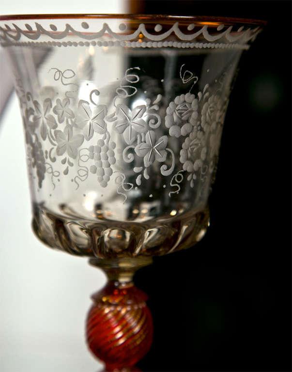 20th Century Venetian Glass Goblets For Sale