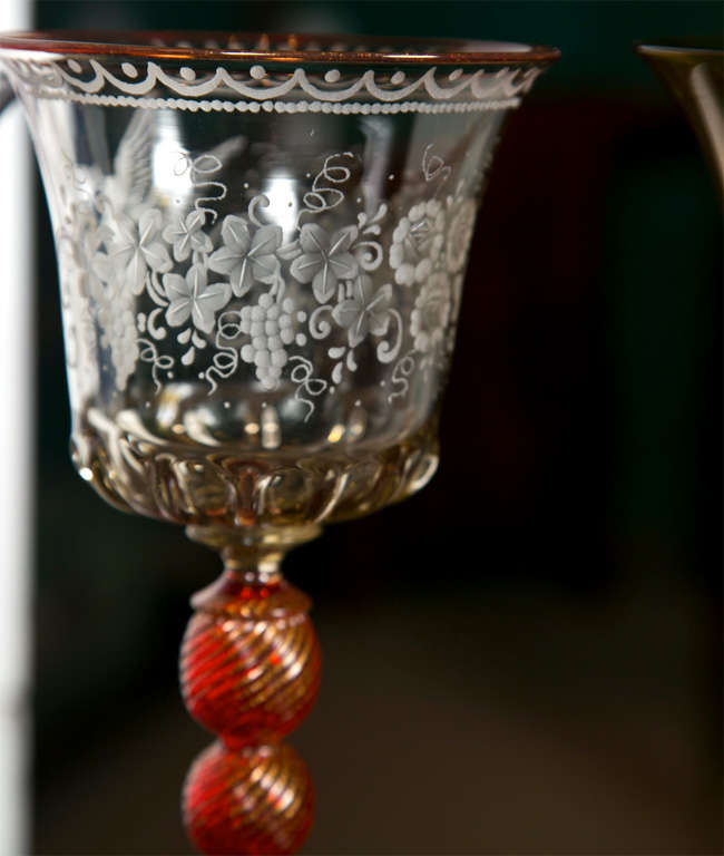Crystal Venetian Glass Goblets For Sale