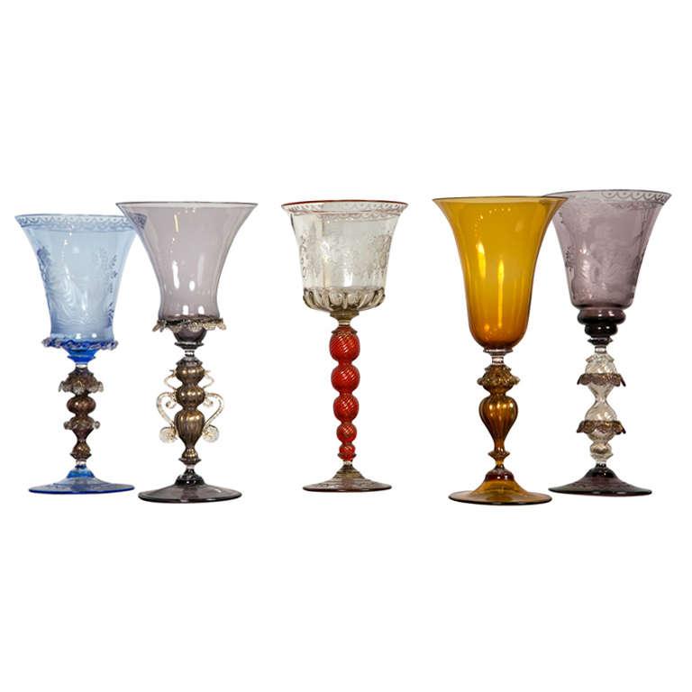 Venetian Glass Goblets For Sale