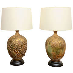 Pair Of Dramatic Volcanic Glazed Ceramic Lamps
