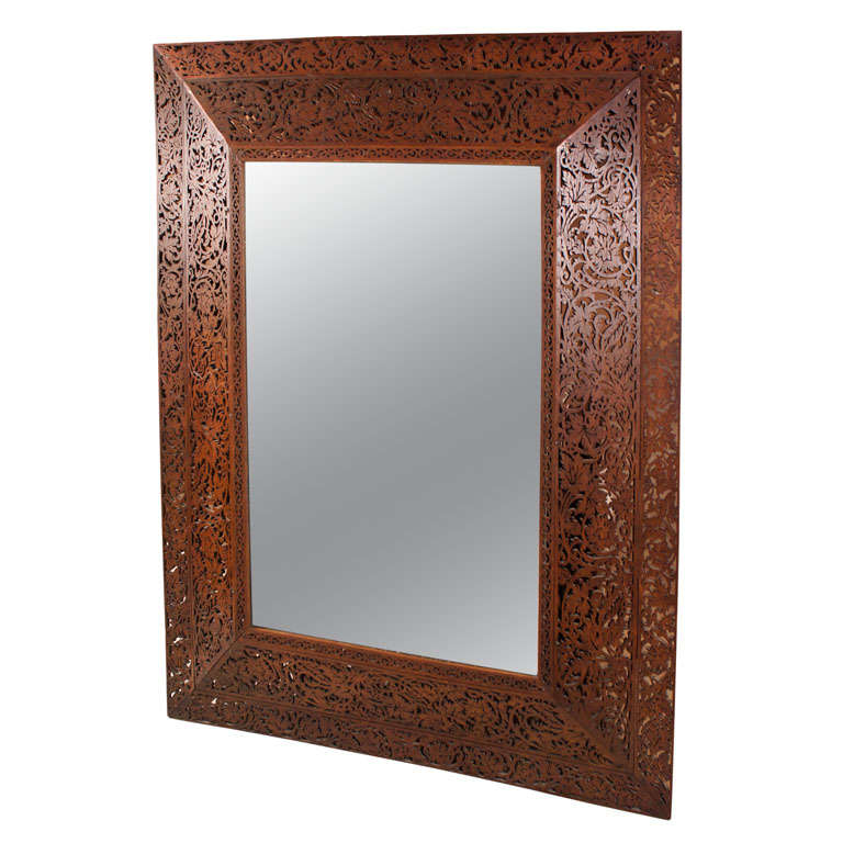 19th Century French Glass and Wood Mirror
