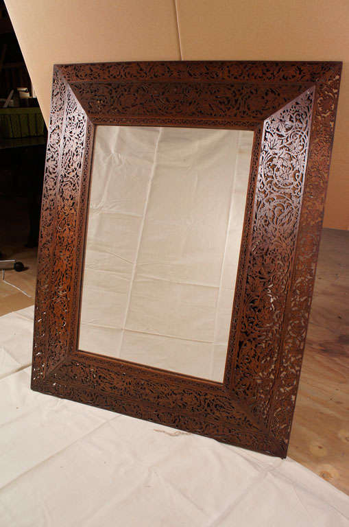19th Century French Glass and Wood Mirror In Good Condition For Sale In Hudson, NY