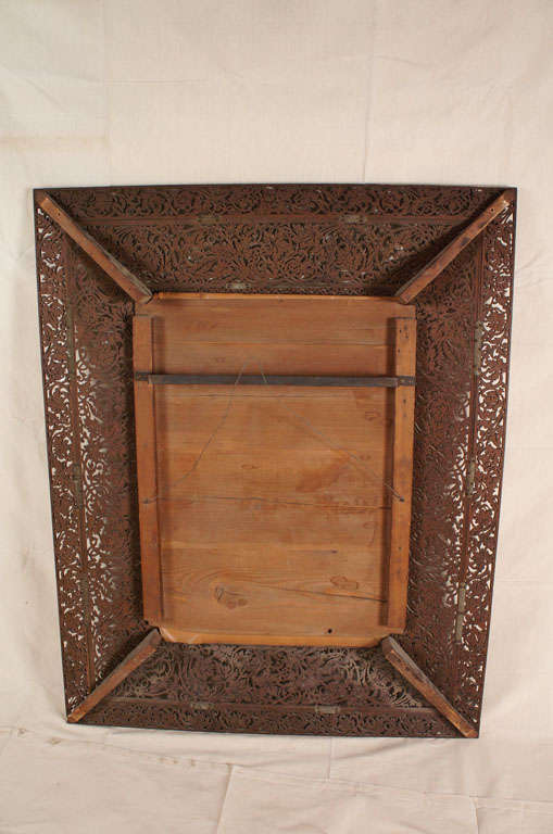 19th Century French Glass and Wood Mirror For Sale 2