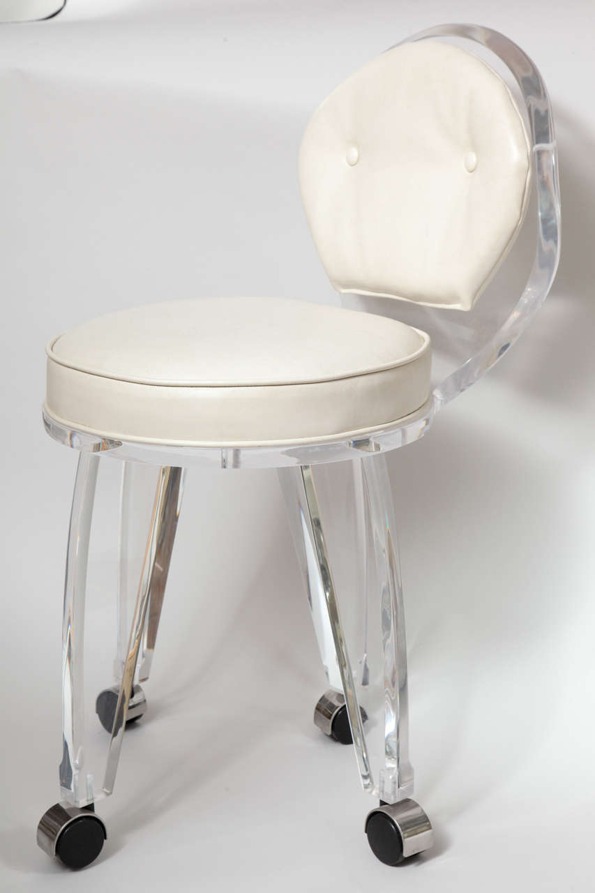 American Lucite Upholstered Rolling Swivel Vanity Chair For Sale