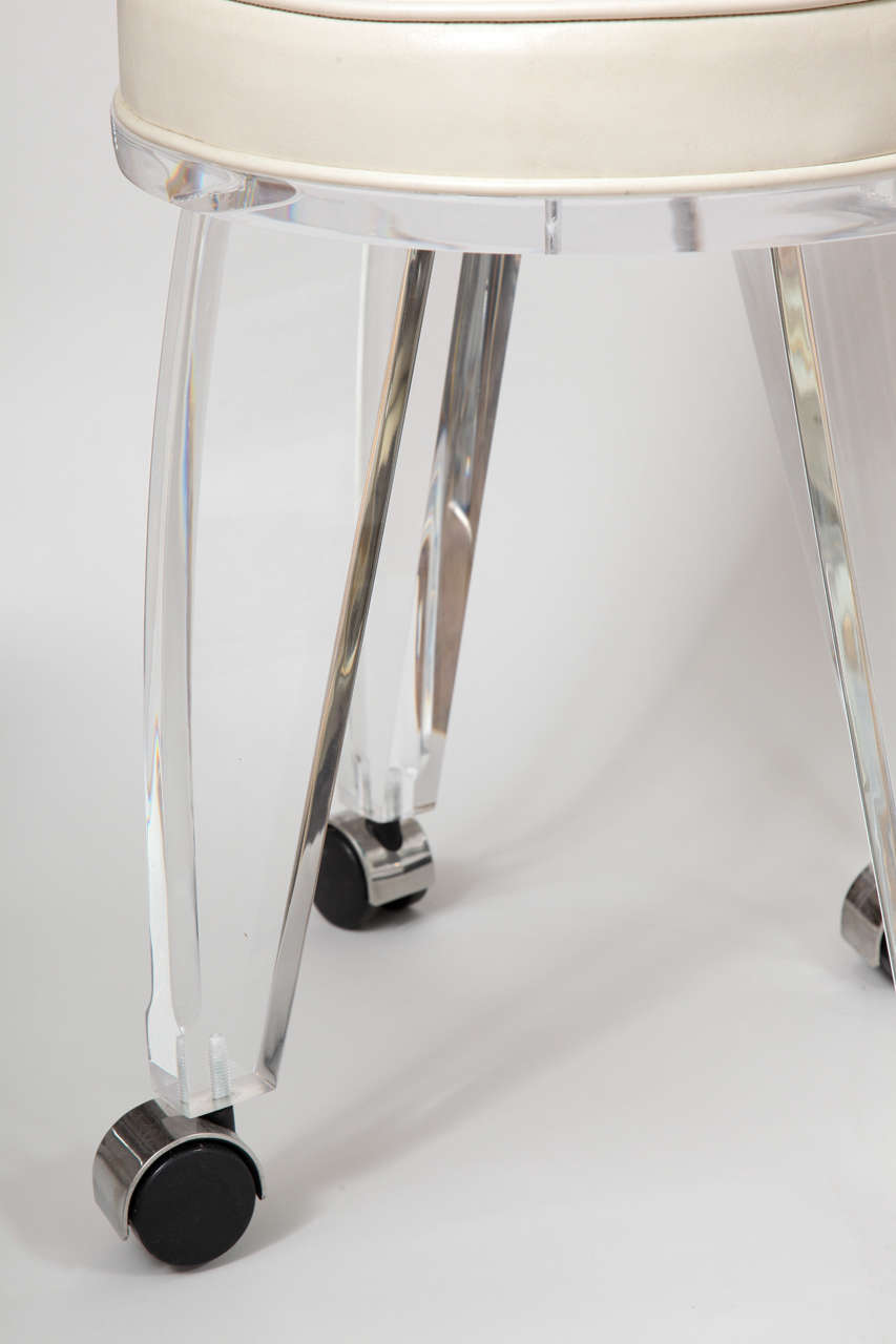 Mid-20th Century Lucite Upholstered Rolling Swivel Vanity Chair