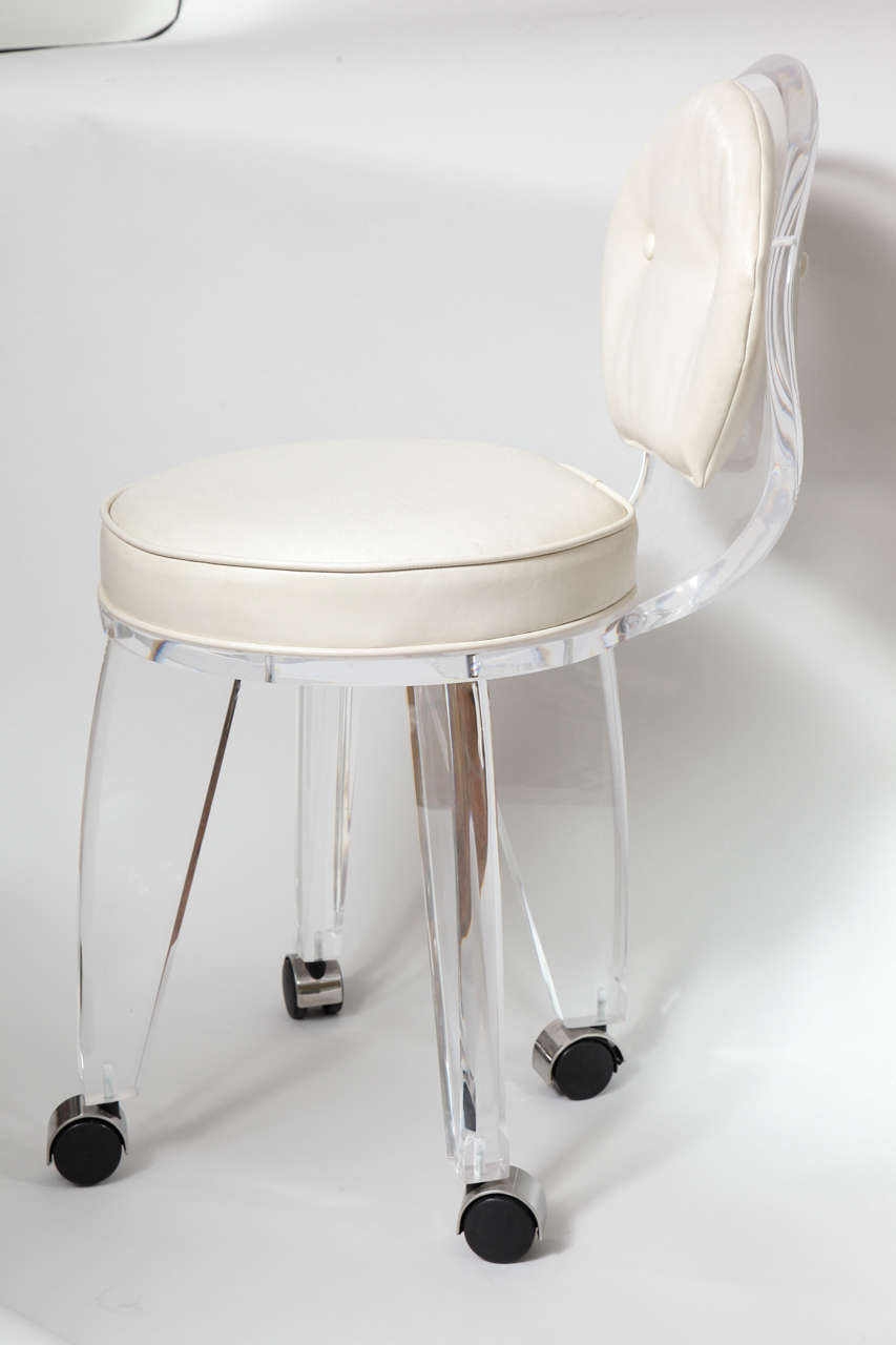 Lucite Upholstered Rolling Swivel Vanity Chair 1