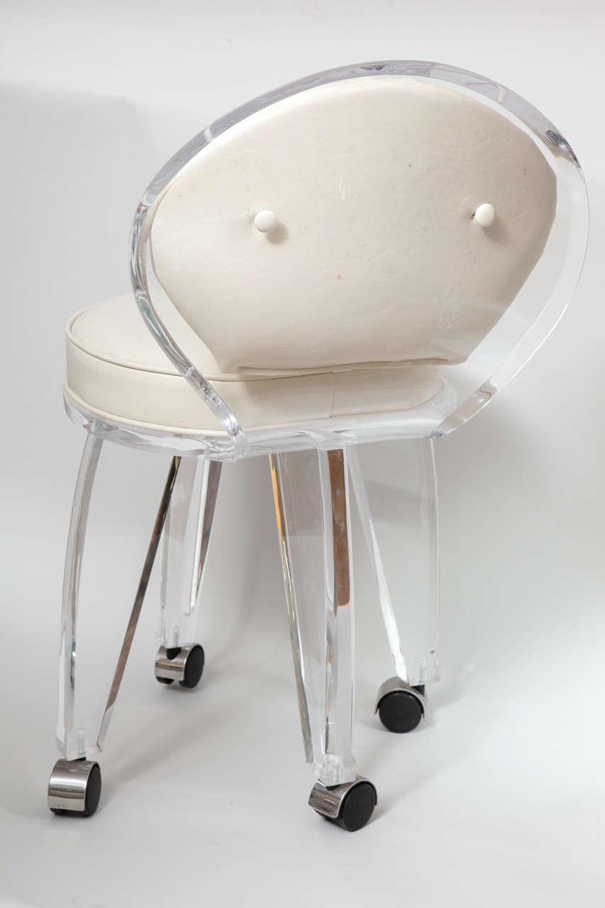 Lucite Upholstered Rolling Swivel Vanity Chair 2