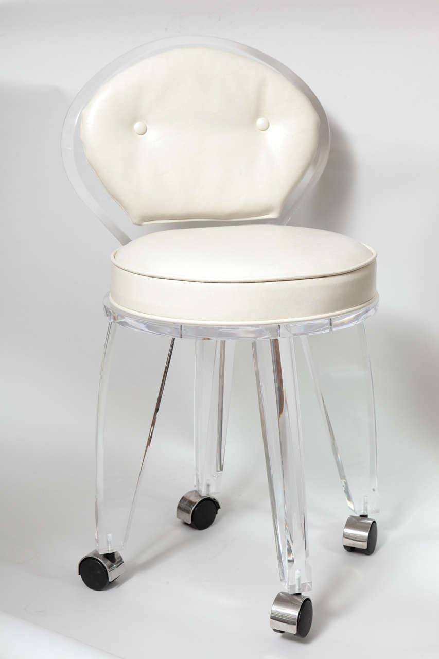Lucite Upholstered Rolling Swivel Vanity Chair 4
