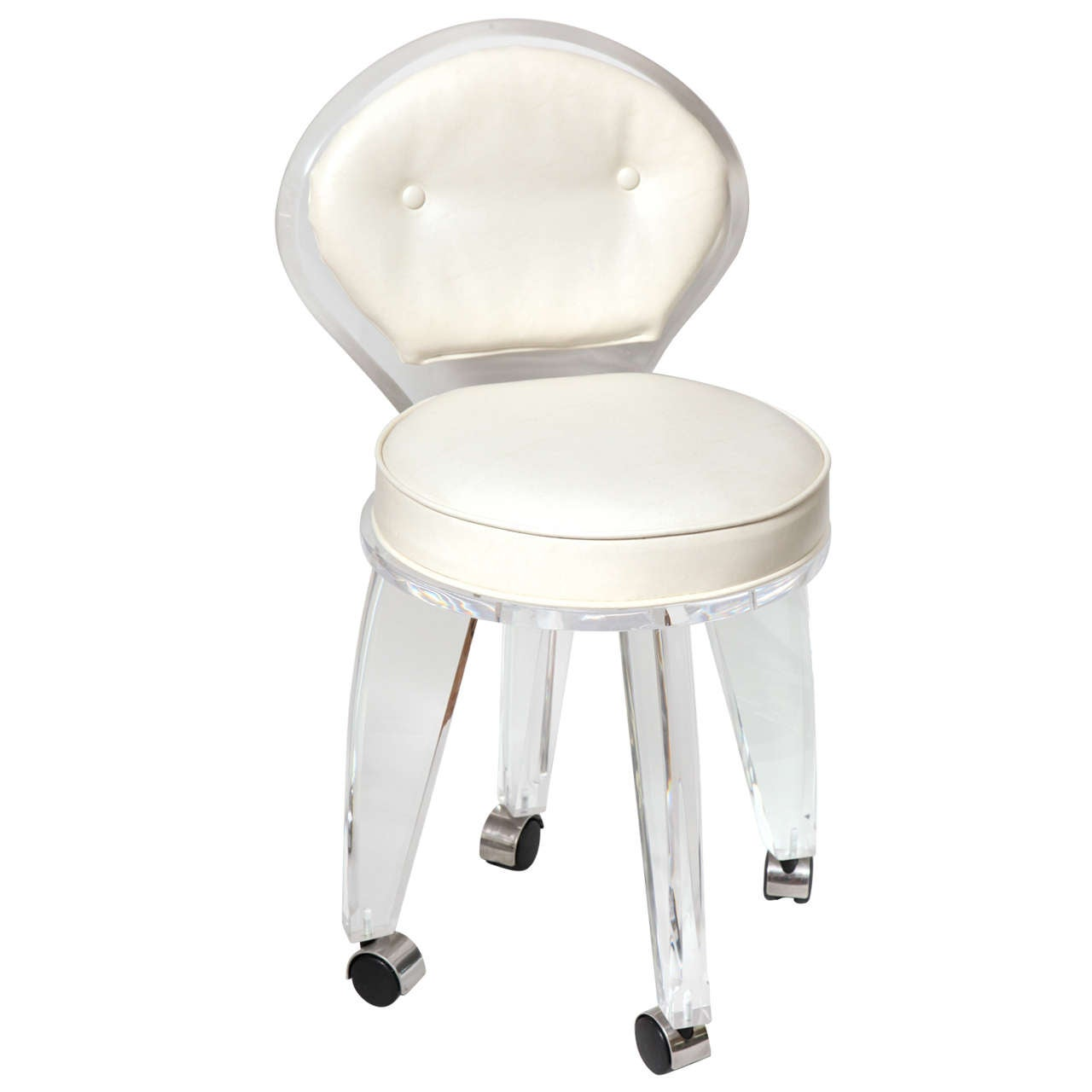Lucite Upholstered Rolling Swivel Vanity Chair at 1stdibs