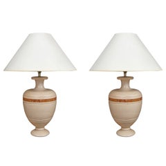 Pair of Italian Carved Travertine  and Marble Inlaid Vintage Table Lamps