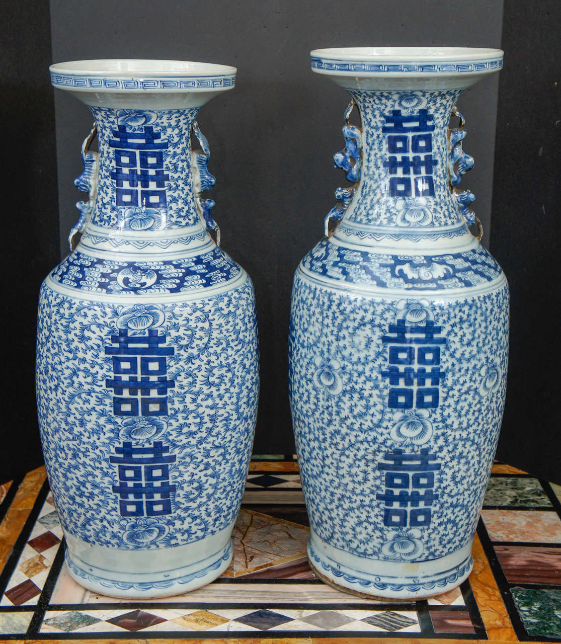 Pair of 19th century porcelain blue and white double happiness this large pair of vases with double happiness symbols was made in china in the very reviewsmspy
