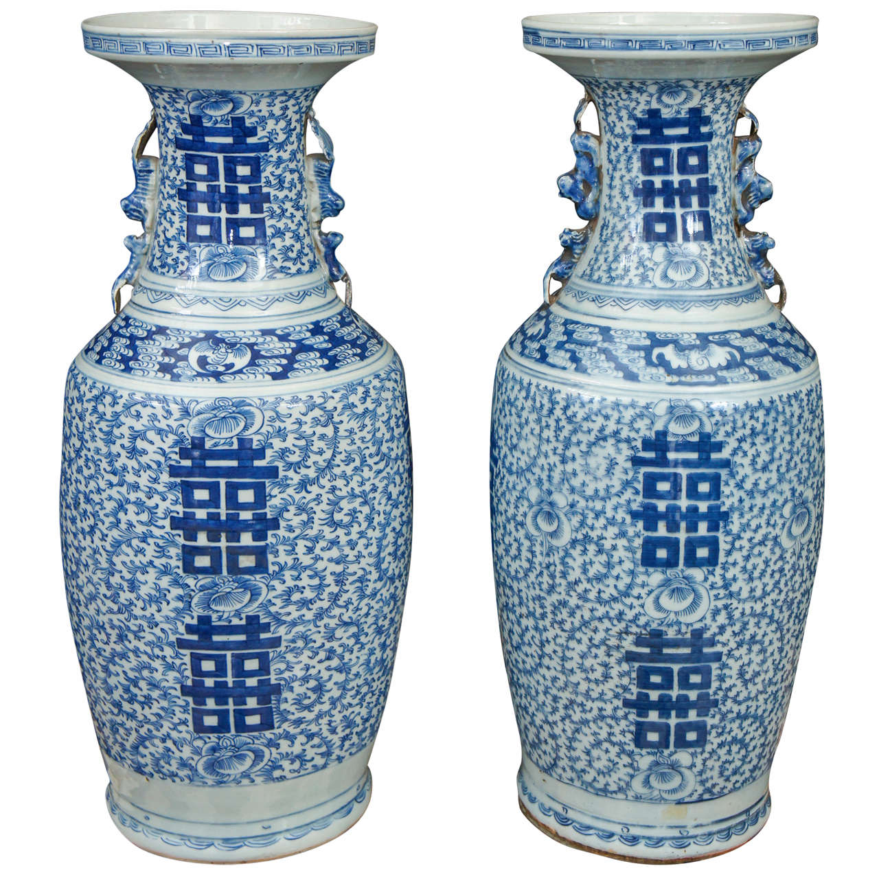 Pair Of 19th Century Porcelain Blue And White Double Hiness Chinese Vases For