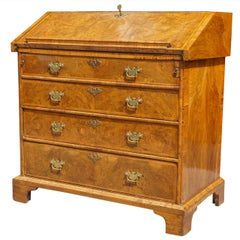 Queen Anne Burled Walnut Slant Front Desk