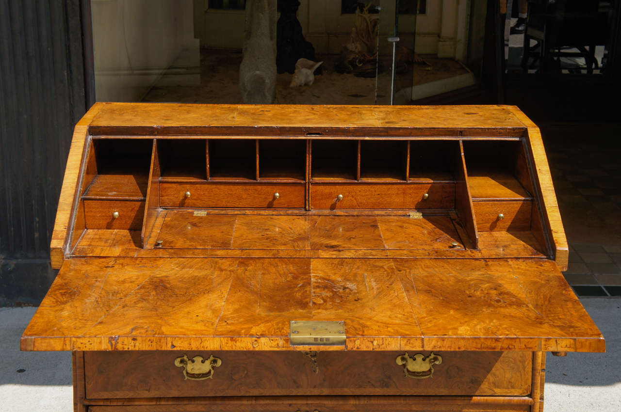 Queen anne burled walnut slant front desk for sale at 1stdibs for Furniture sales today