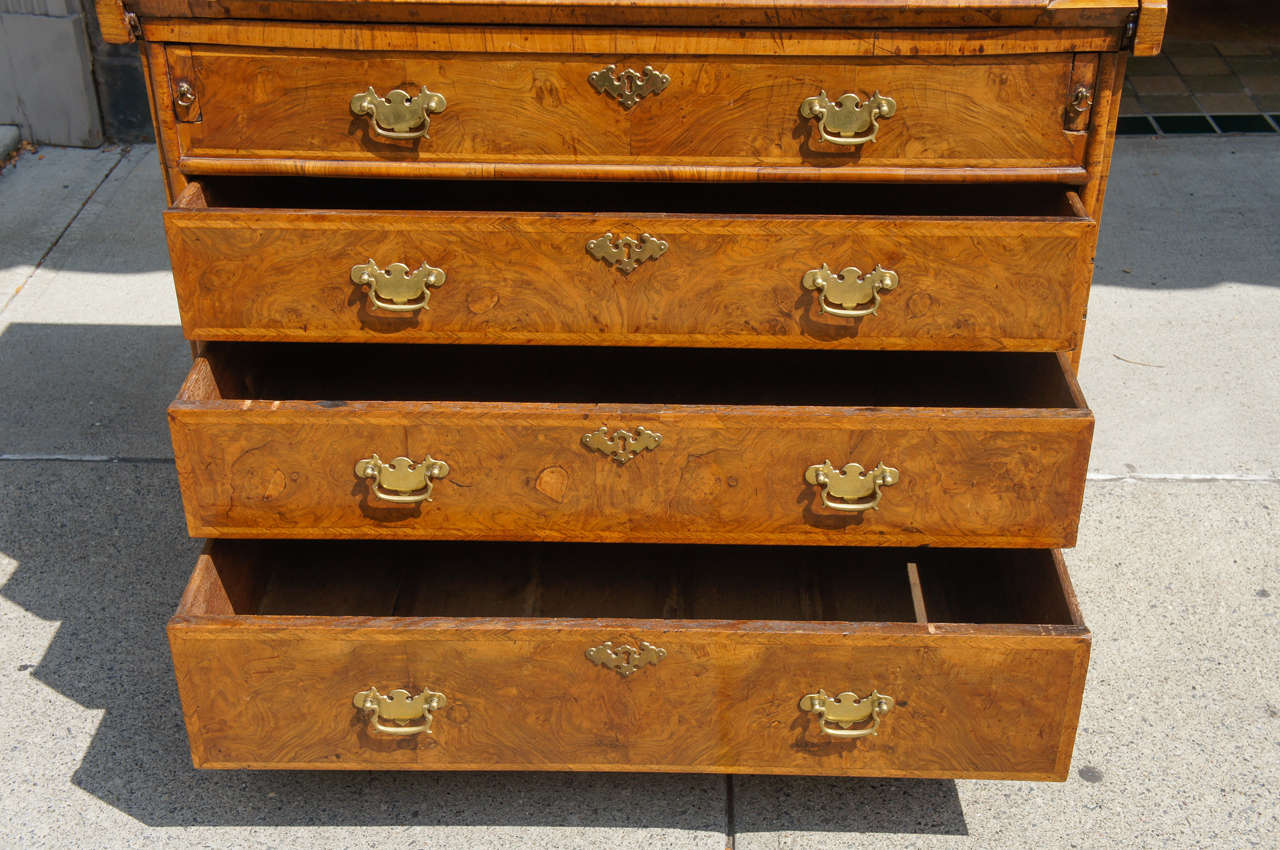 Early 18th Century Queen Anne Burled Walnut Slant Front Desk For Sale