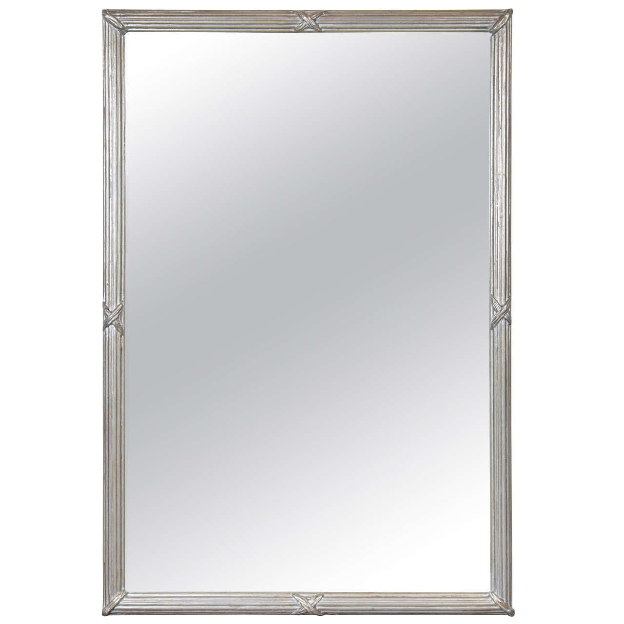 Mid-Century Modernist Mirror with Fluted Frame