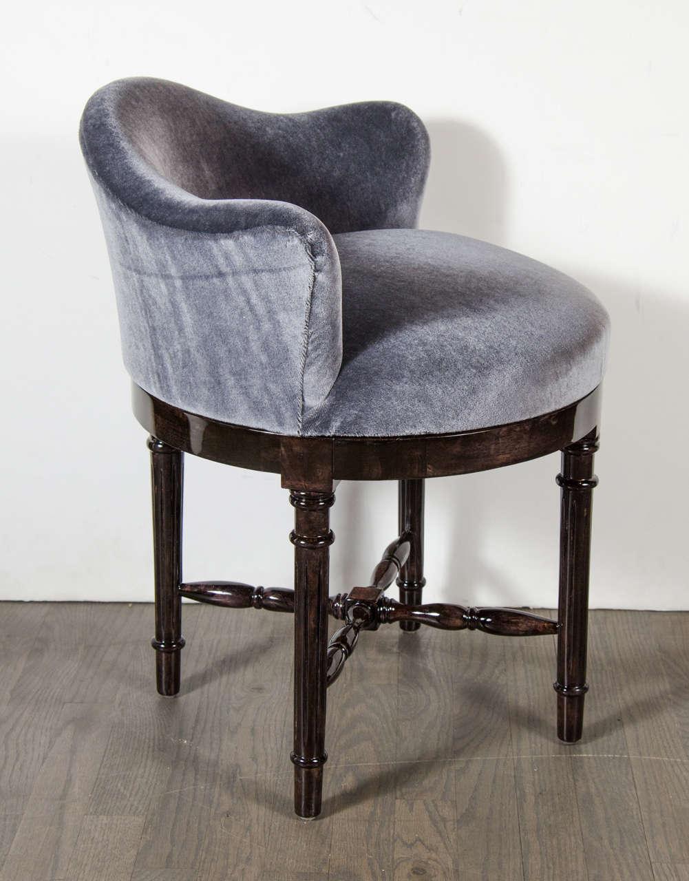 Scroll Back Swivel Stool Upholstered In Blue Grey Mohair