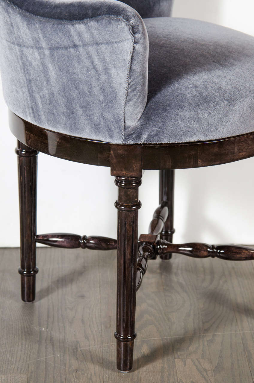 Scroll Back Swivel Stool Upholstered In Blue Grey Mohair