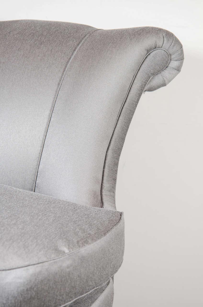 Art Deco Glamorous 1940s Hollywood Scroll Design Slipper Chair by Dorothy Draper For Sale