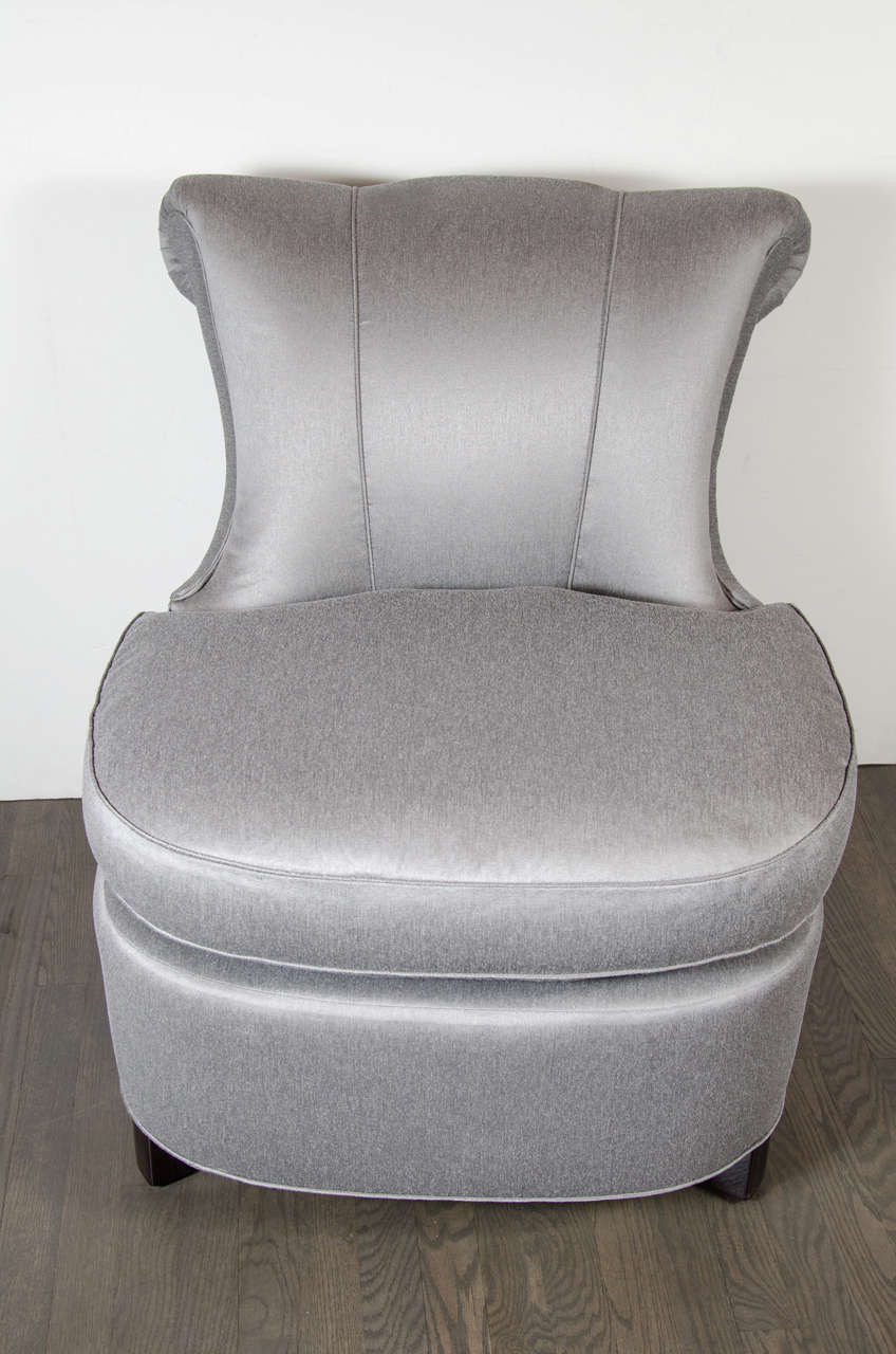 American Glamorous 1940s Hollywood Scroll Design Slipper Chair by Dorothy Draper For Sale