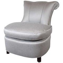 Glamorous 1940s Hollywood Scroll Design Slipper Chair by Dorothy Draper