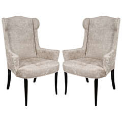 Pair of Mid-Century Modernist Scroll-Arm Wingback Chairs in Crocodile Velvet