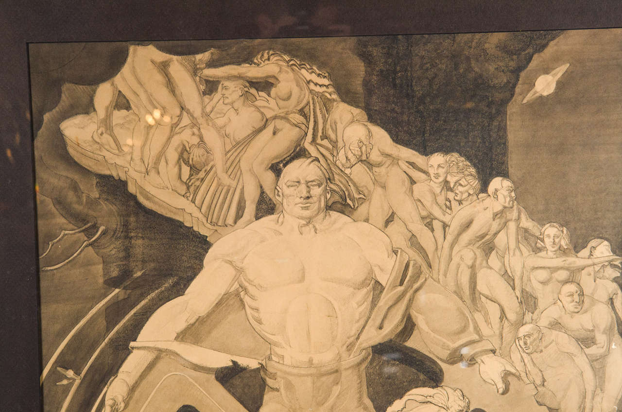 Art Deco WPA Mural Study of Man in Front of Giant Cog by Frank ...