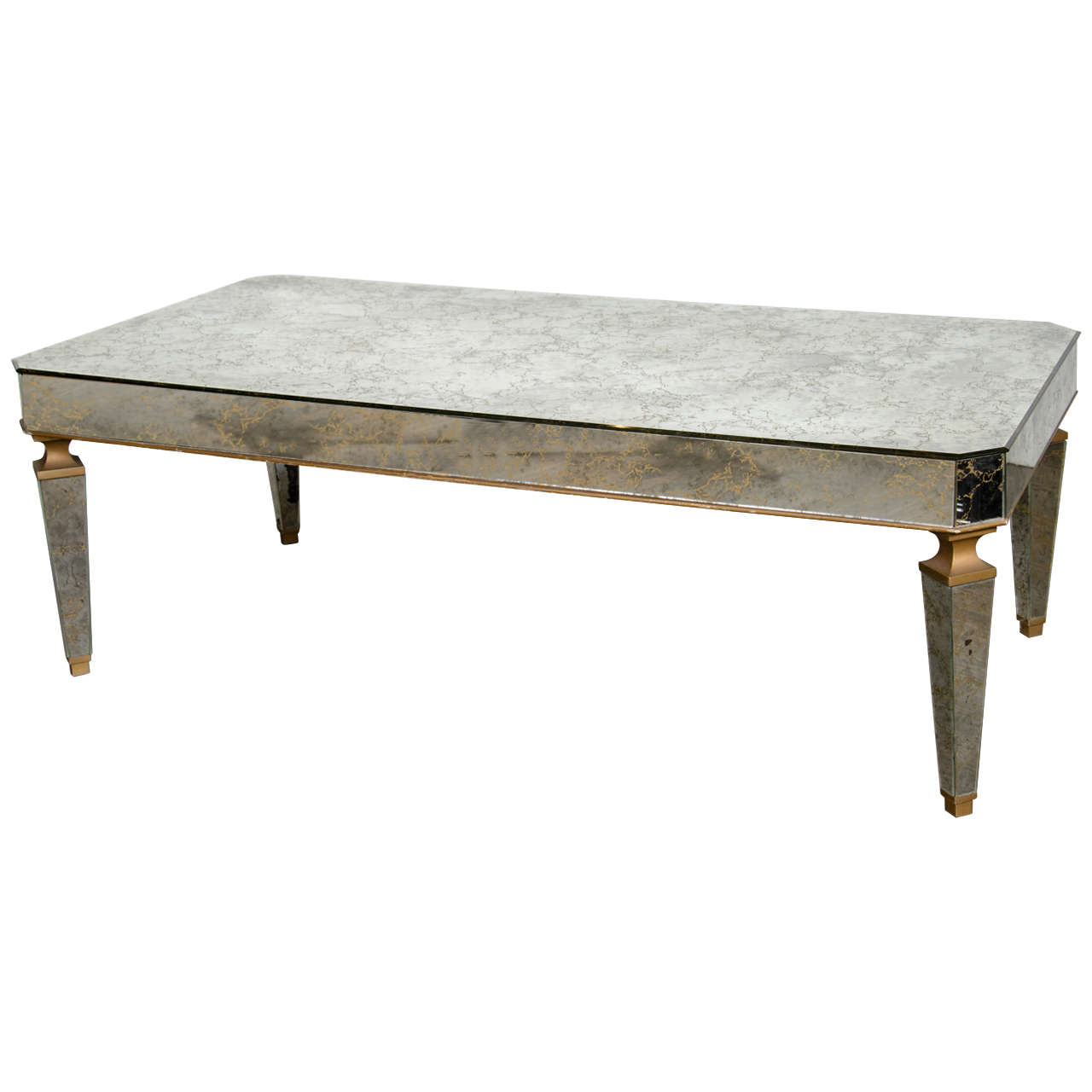 Elegant Mirrored And Gilt Cocktail Table In The Manner Of Jansen For Sale At 1stdibs