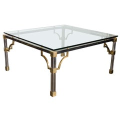 Mid-Century Modern Brushed Nickel and Brass Cocktail Table by John Vesey