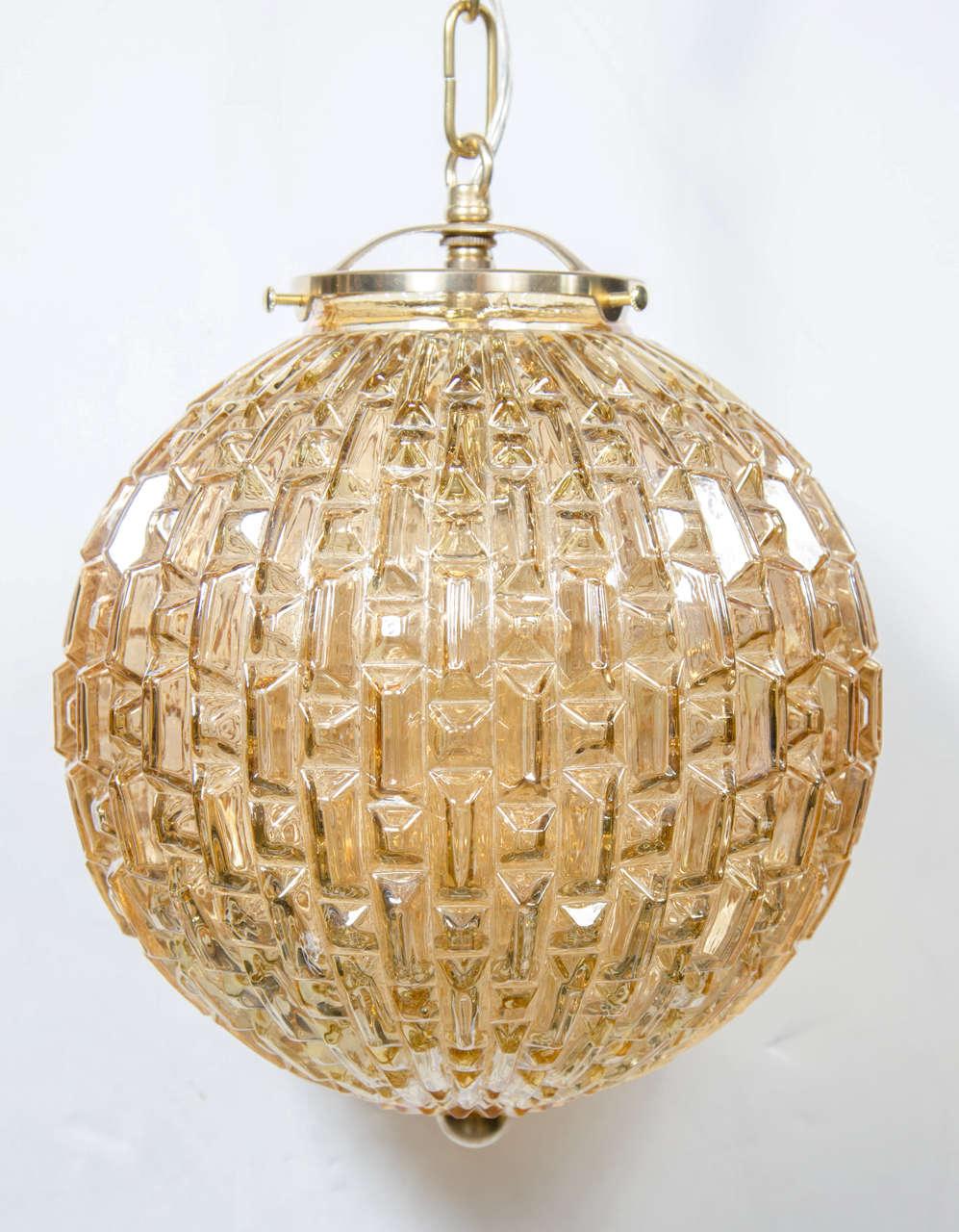 Mid-Century Modernist Prism Molded Glass Globe Pendant ...
