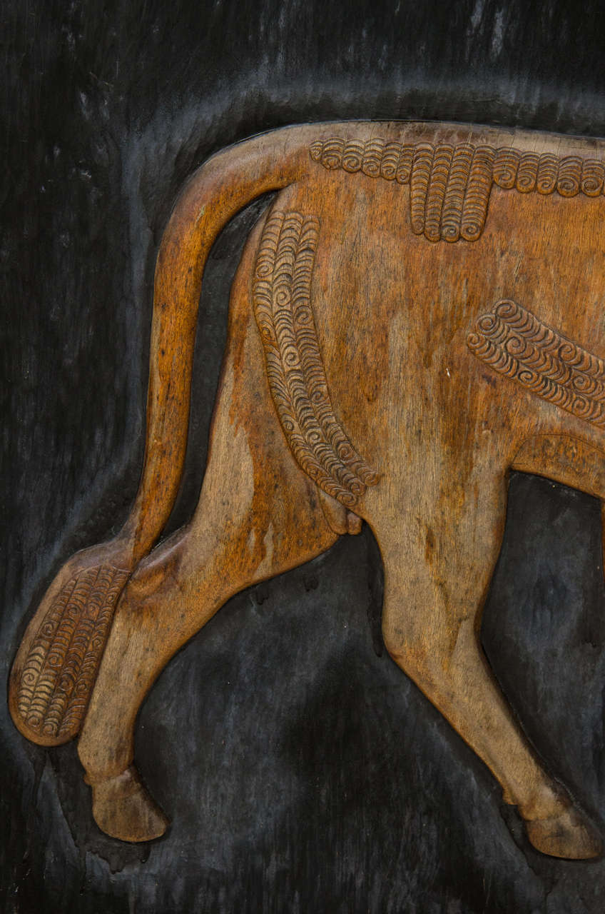 Hand-Carved Exceptional Hand Carved Artwork Panel From the Estate of Charles Lamb For Sale