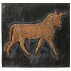 Large Arabic Bull Carved Wood Artwork from the Estate of Charles Lamb