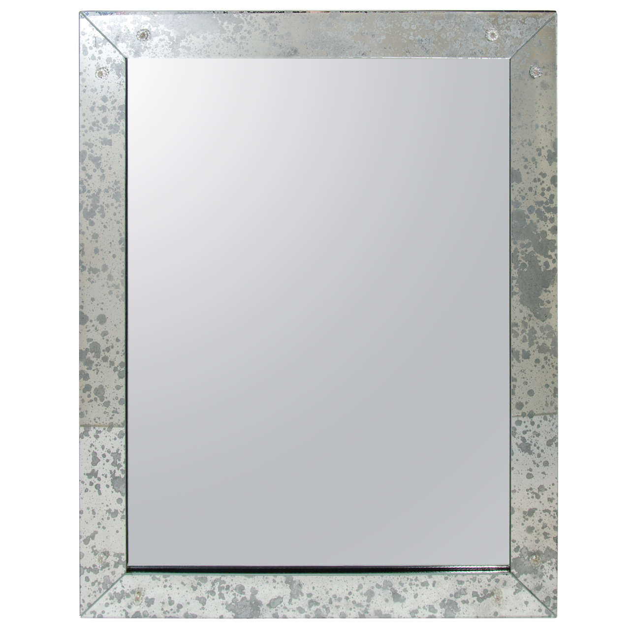 Hollywood Regency Mirror With Antiqued Glass Borders For Sale