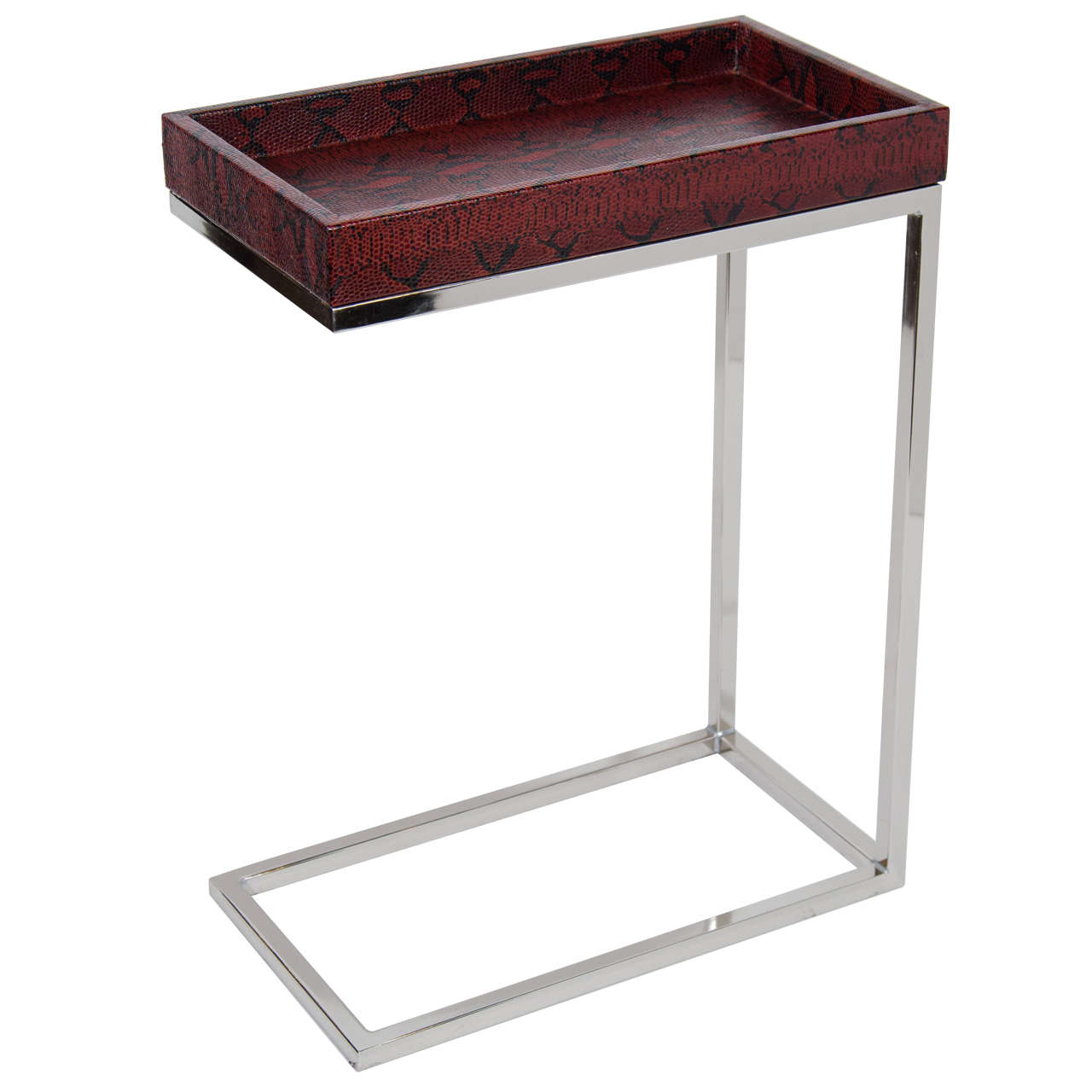 Karl Springer Style Narrow Side Table In Python Embossed Garnet Leather 1