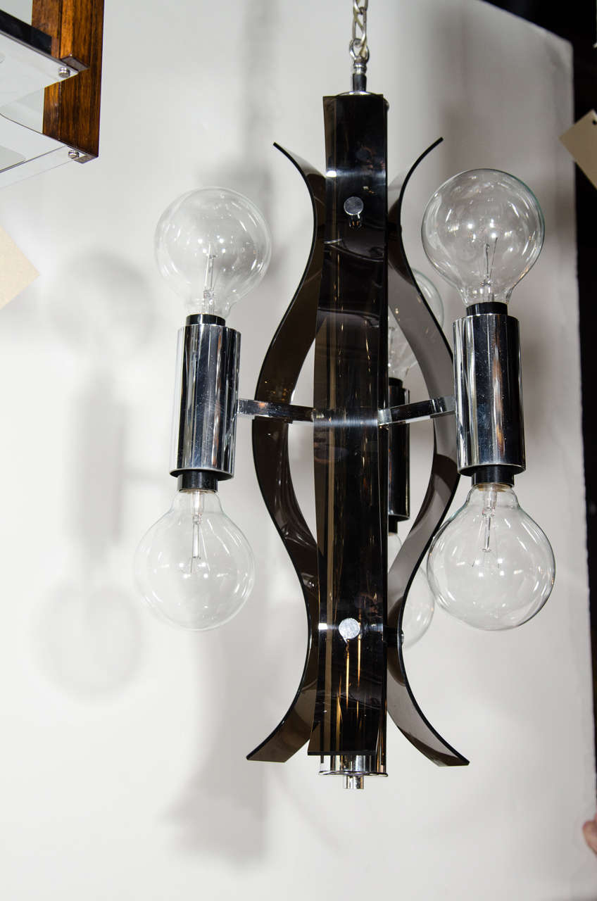 Polished Mid Century Modern Sculptural Black Lucite Chandelier For Sale