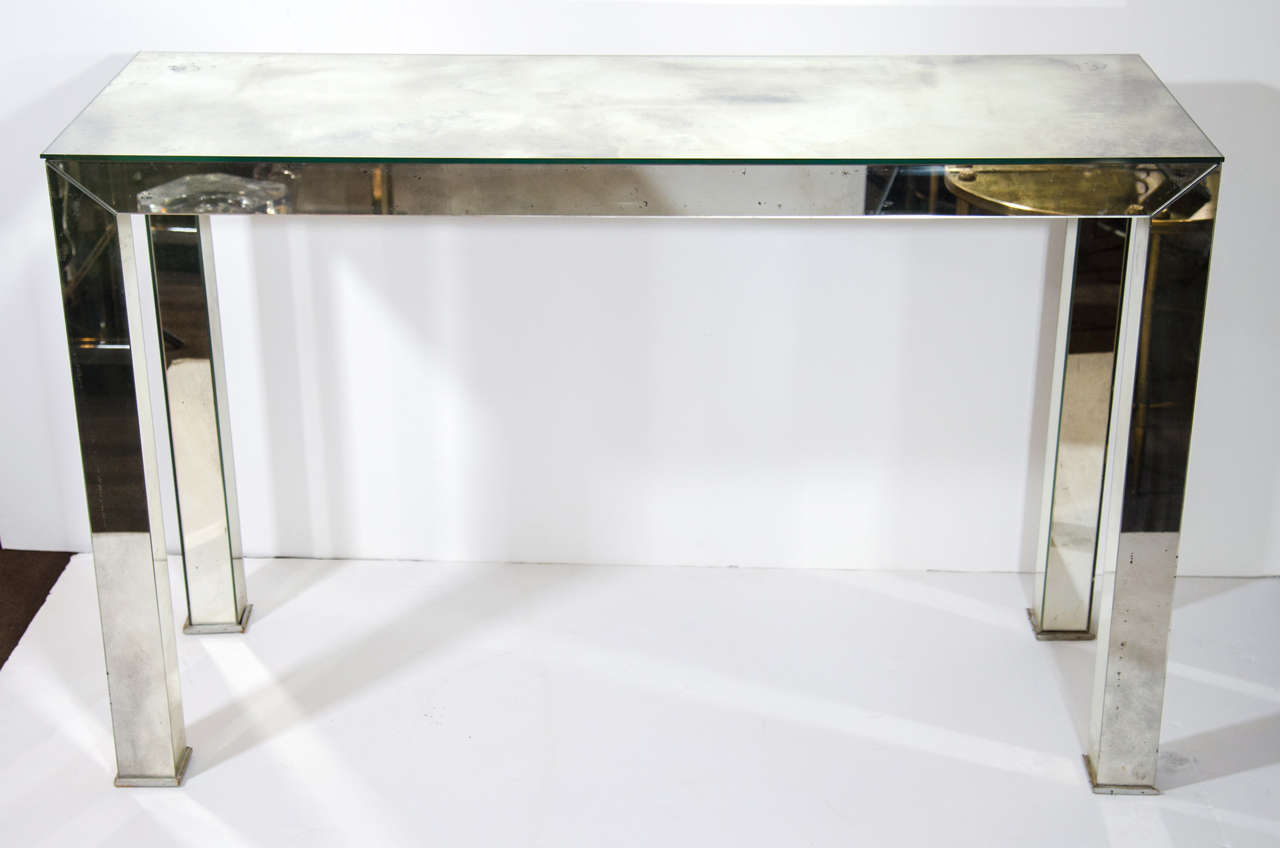 Mid century modern smoked mirrored console table for sale - Modern console table with mirror ...