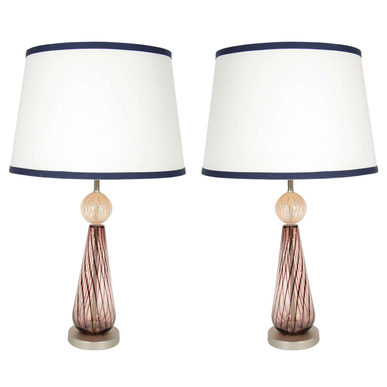 Pair of Murano Glass Lamps with Spiral Details in Aubergine