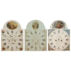 Three English Painted Metal Break-Arch Clock Faces