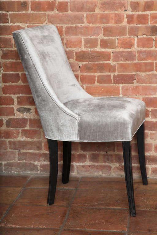 Mid-Century Modern Set of Two Elegant Mid-Century Slipper Side Chairs For Sale