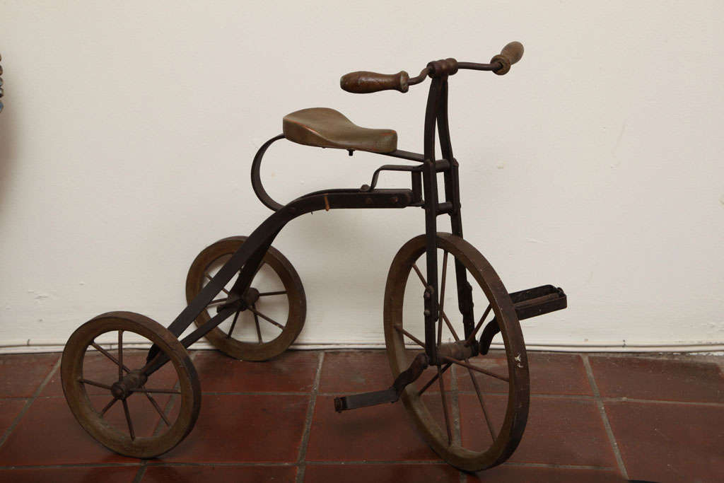 Antique Tricycle Toy in Iron and Wood from early 1900's 2
