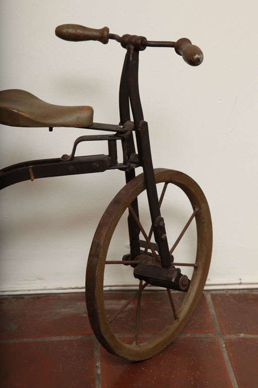 Antique Tricycle Toy in Iron and Wood from early 1900's 4