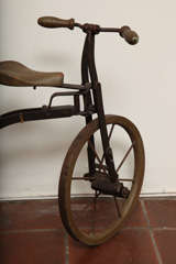 Antique Tricycle Toy in Iron and Wood from early 1900's image 4