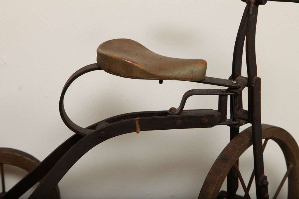 Antique Tricycle Toy in Iron and Wood from early 1900's 5