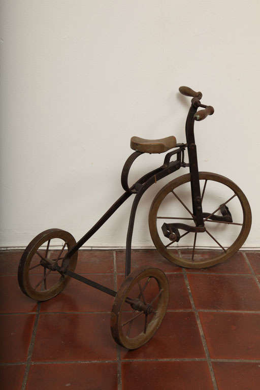 Antique Tricycle Toy in Iron and Wood from early 1900's 7